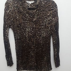 Cleo Animal Print pleated top